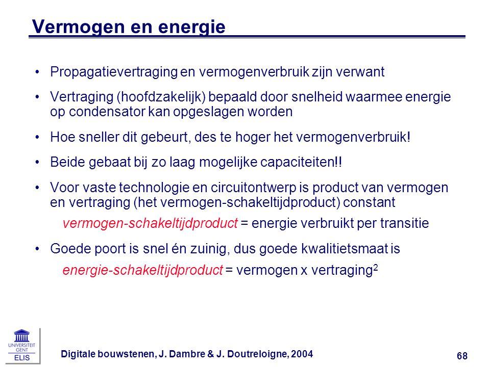 Vermogen en energie Propagatievertraging en vermogenverbruik zijn verwant.