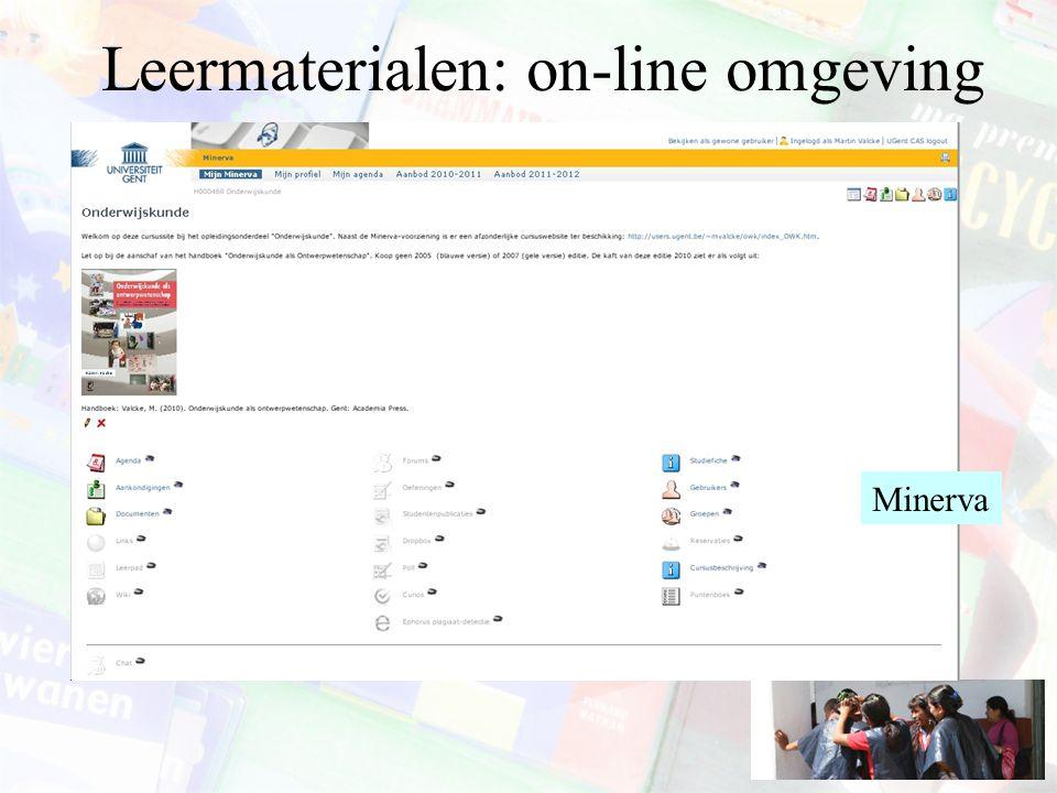 Leermaterialen: on-line omgeving