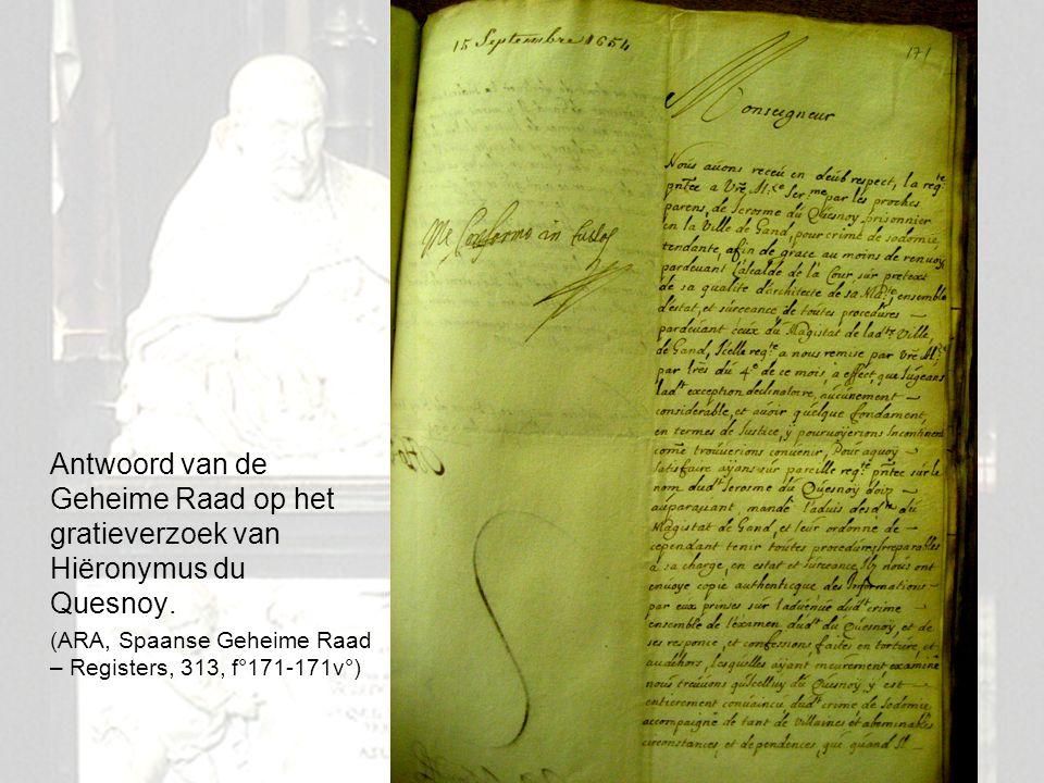 Antwoord van de Geheime Raad op het gratieverzoek van Hiëronymus du Quesnoy.