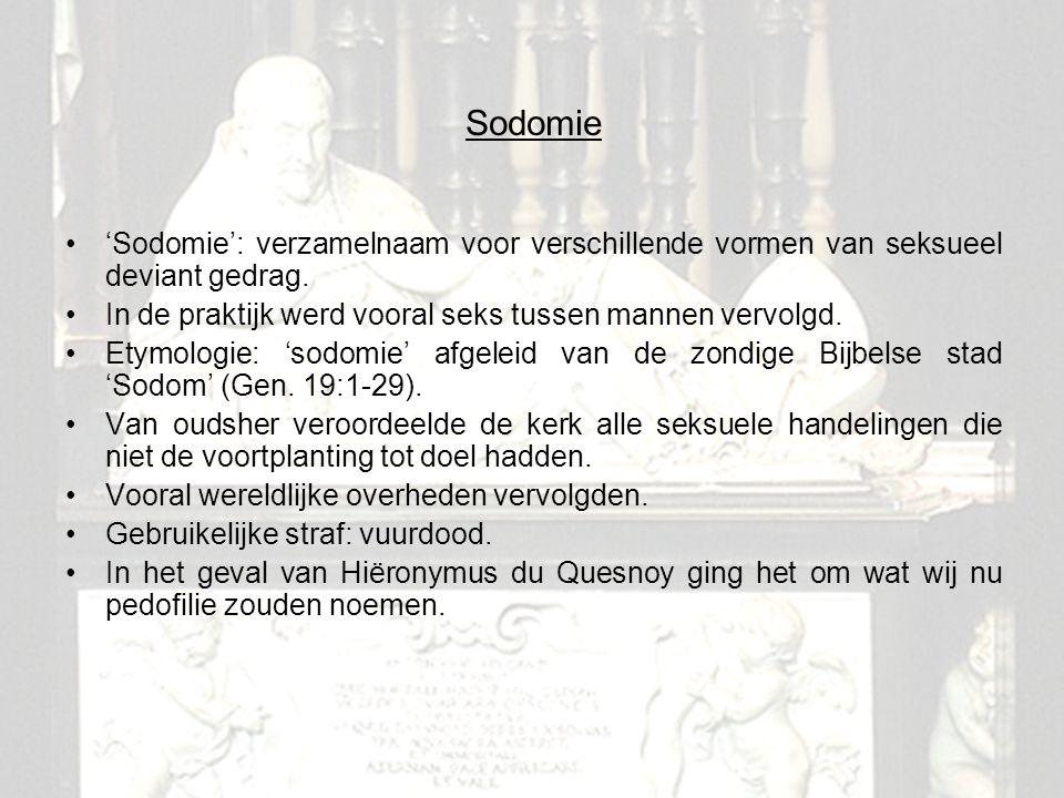 Sodomie 'Sodomie': verzamelnaam voor verschillende vormen van seksueel deviant gedrag. In de praktijk werd vooral seks tussen mannen vervolgd.