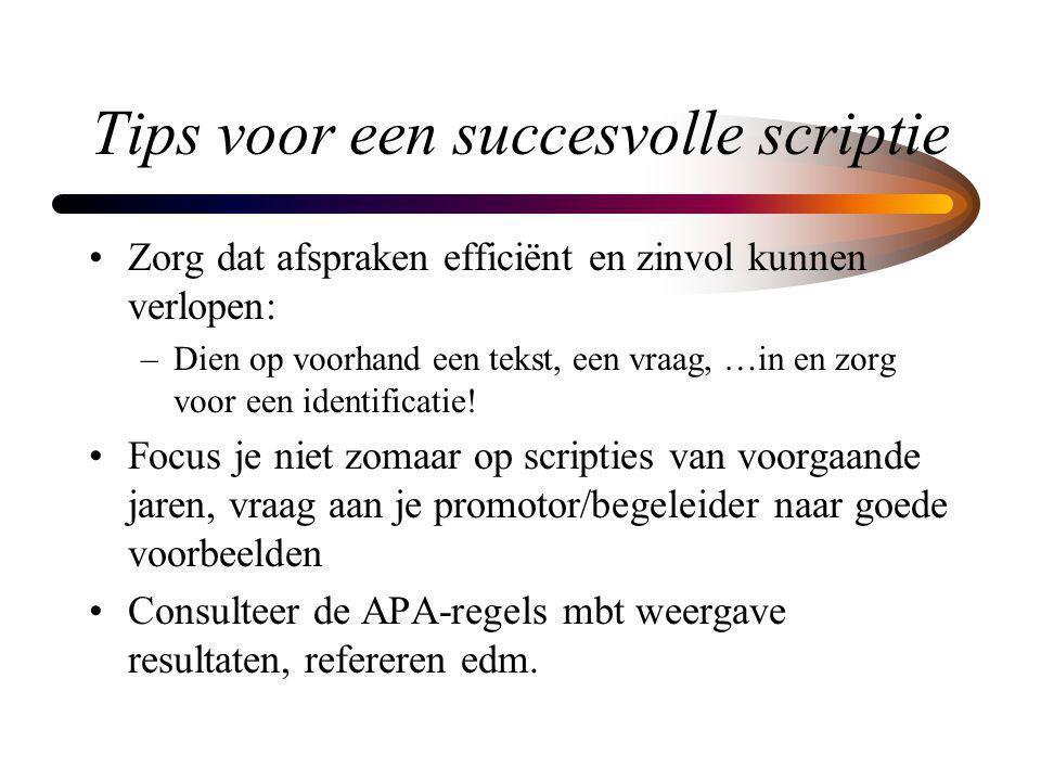 Tips voor een succesvolle scriptie