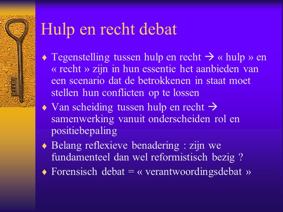 Hulp en recht debat