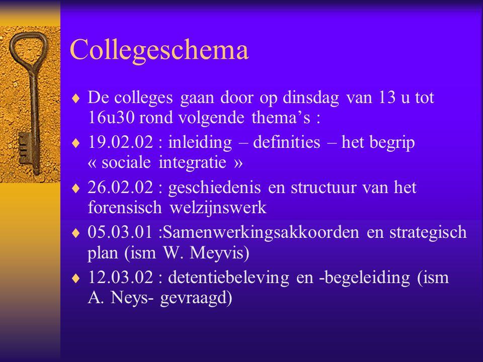 Collegeschema De colleges gaan door op dinsdag van 13 u tot 16u30 rond volgende thema's :