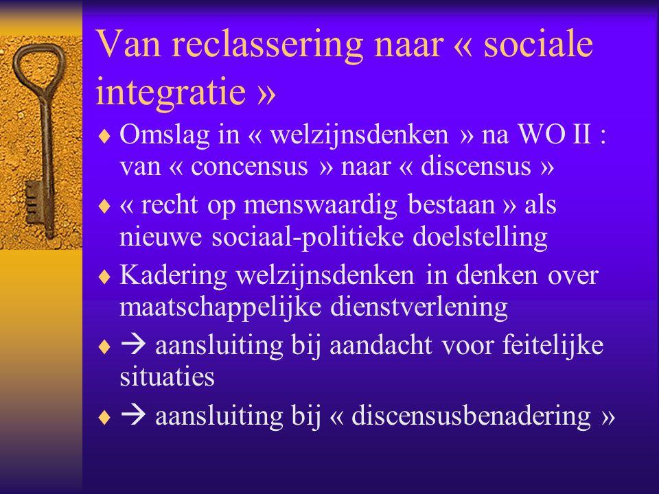 Van reclassering naar « sociale integratie »