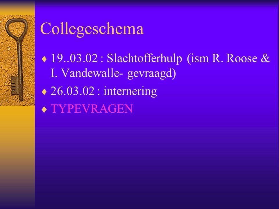 Collegeschema 19..03.02 : Slachtofferhulp (ism R. Roose & I. Vandewalle- gevraagd) 26.03.02 : internering.