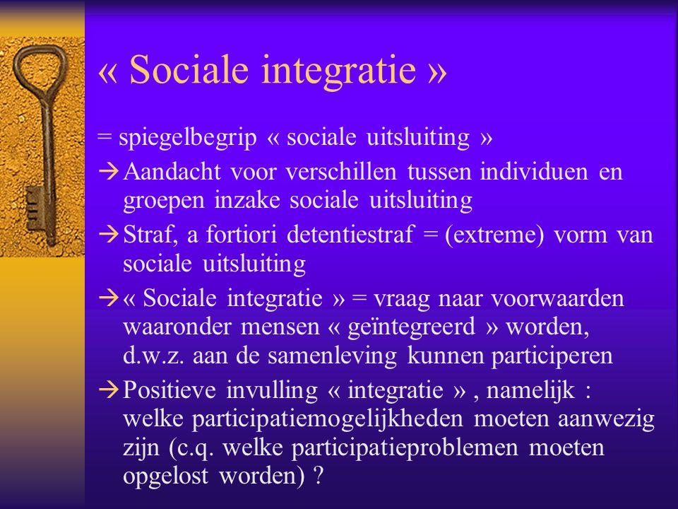 « Sociale integratie » = spiegelbegrip « sociale uitsluiting »