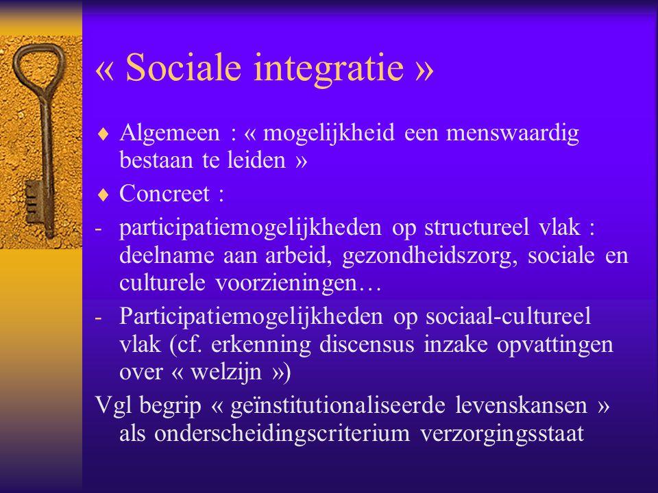 « Sociale integratie » Algemeen : « mogelijkheid een menswaardig bestaan te leiden » Concreet :