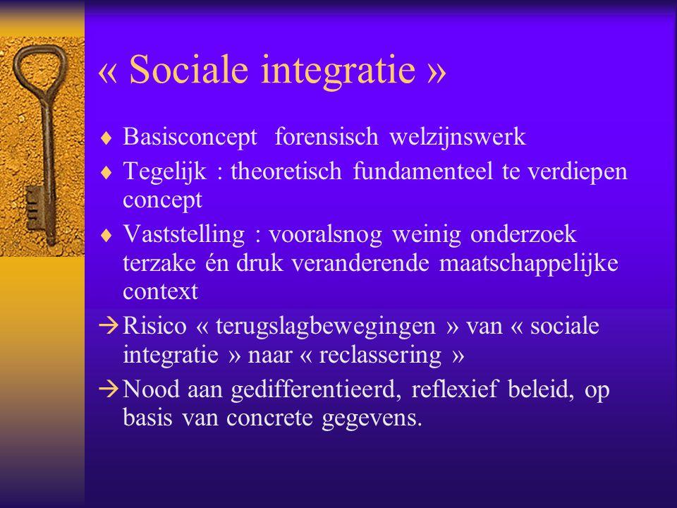 « Sociale integratie » Basisconcept forensisch welzijnswerk