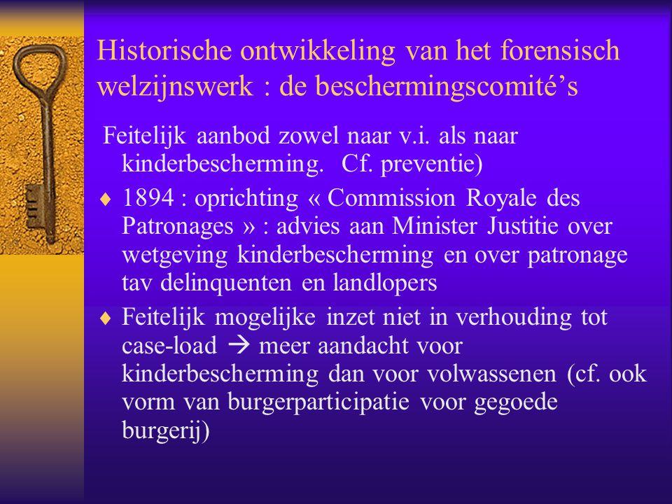 Historische ontwikkeling van het forensisch welzijnswerk : de beschermingscomité's