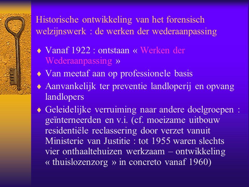 Historische ontwikkeling van het forensisch welzijnswerk : de werken der wederaanpassing