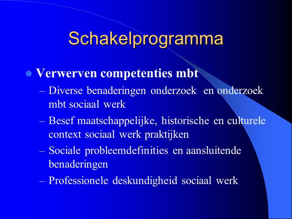 Schakelprogramma Verwerven competenties mbt