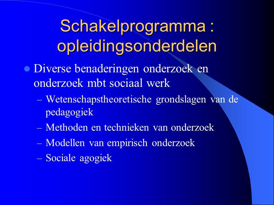 Schakelprogramma : opleidingsonderdelen