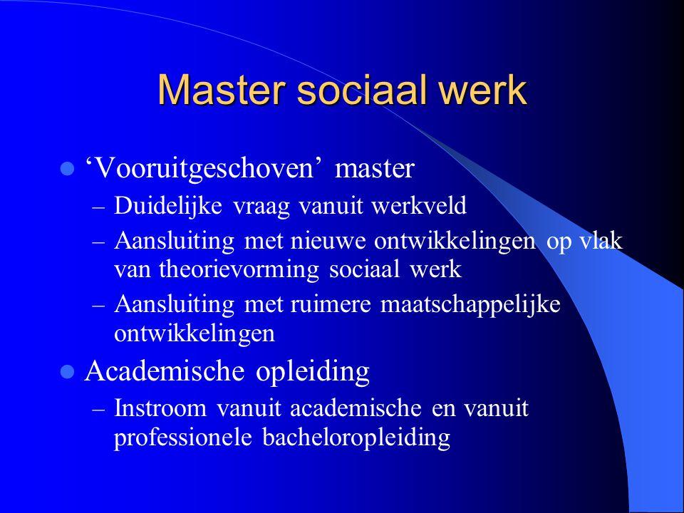 Master sociaal werk 'Vooruitgeschoven' master Academische opleiding