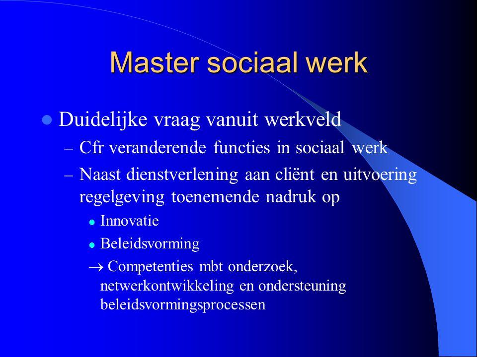 Master sociaal werk Duidelijke vraag vanuit werkveld