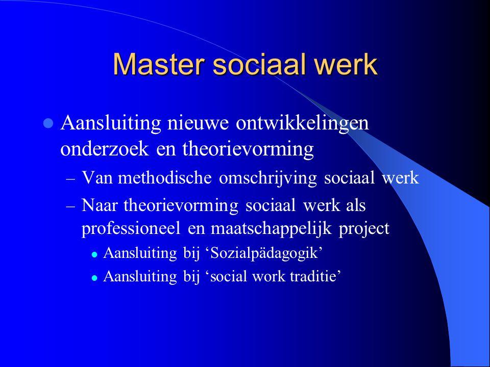 Master sociaal werk Aansluiting nieuwe ontwikkelingen onderzoek en theorievorming. Van methodische omschrijving sociaal werk.