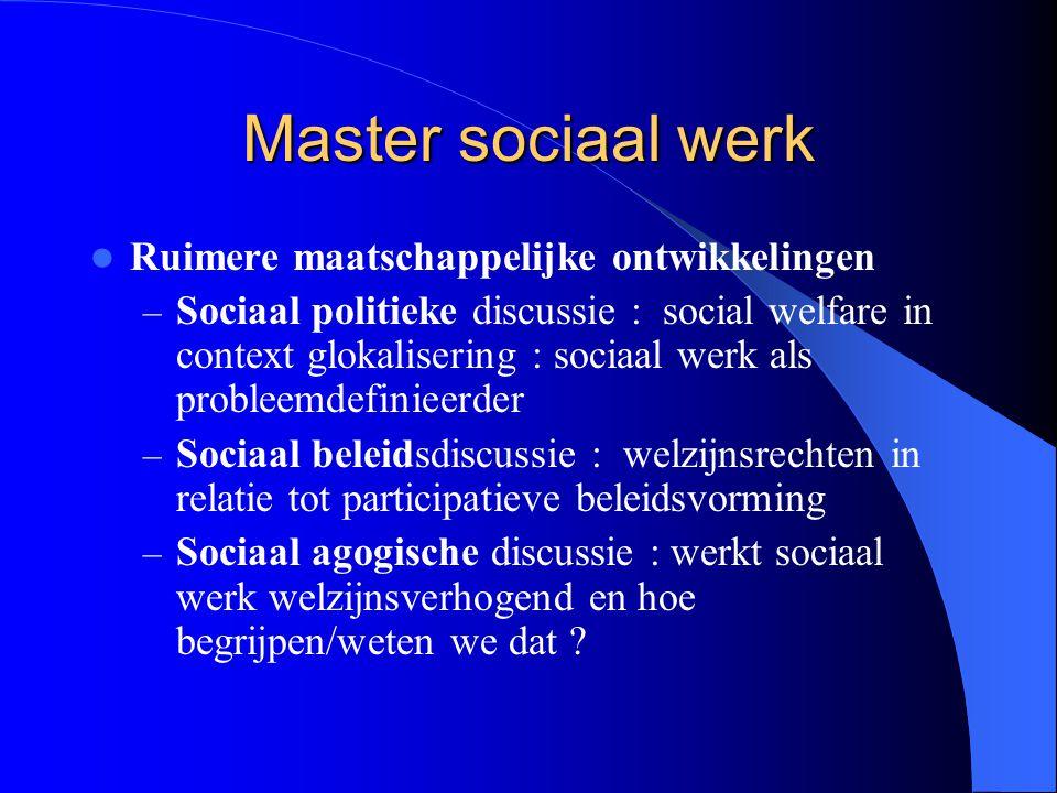 Master sociaal werk Ruimere maatschappelijke ontwikkelingen