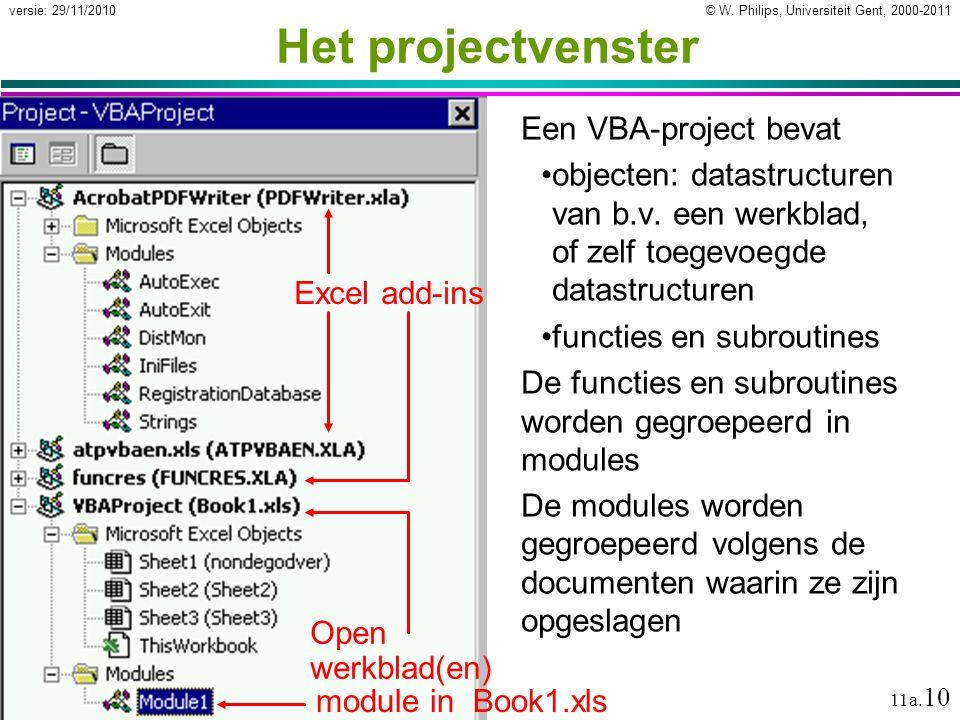 Het projectvenster Een VBA-project bevat