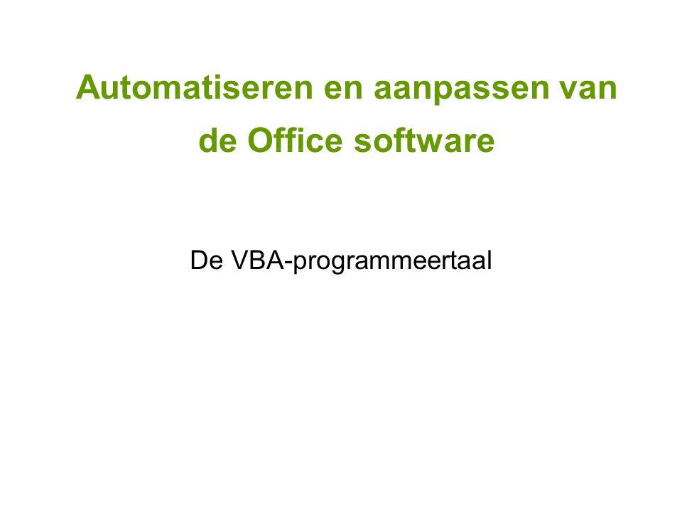 De VBA-programmeertaal