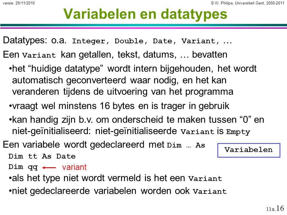Variabelen en datatypes