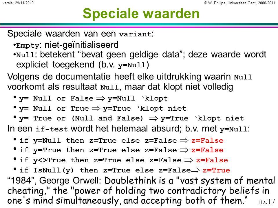 Speciale waarden Speciale waarden van een variant: