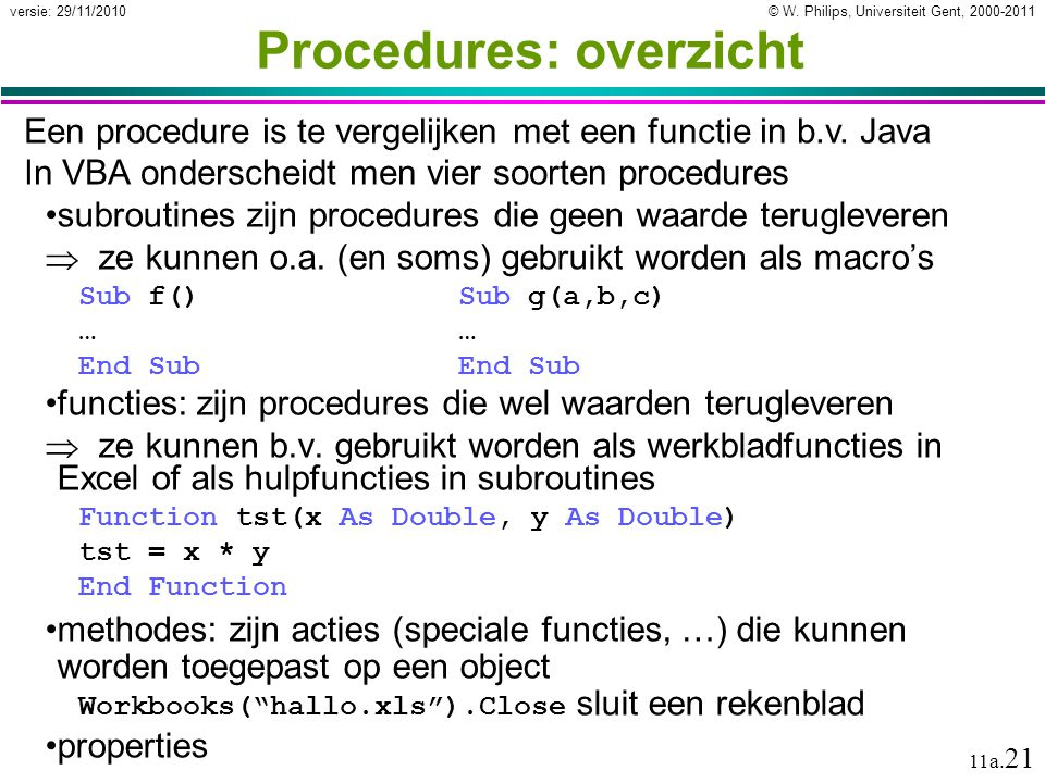Procedures: overzicht