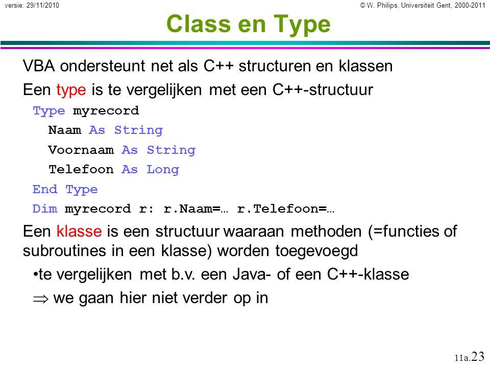 Class en Type VBA ondersteunt net als C++ structuren en klassen