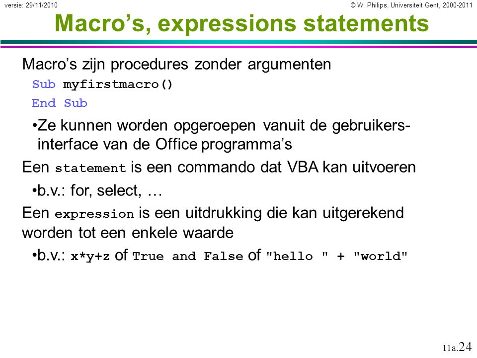 Macro's, expressions statements