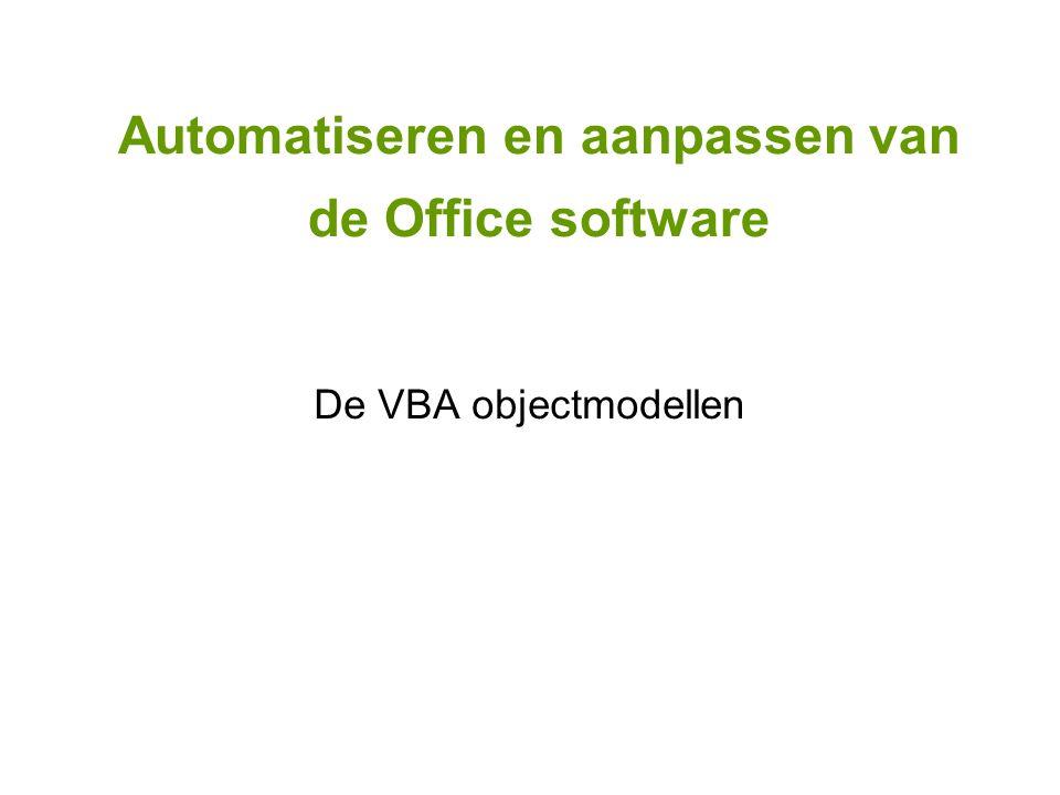 De VBA objectmodellen
