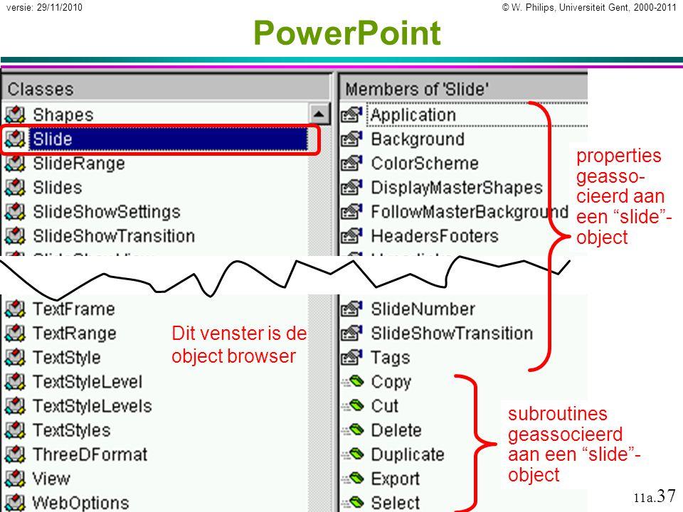 PowerPoint properties geasso-cieerd aan een slide -object