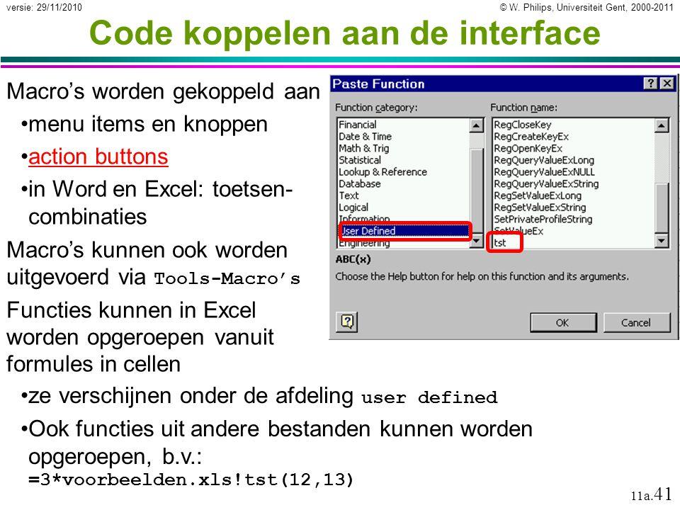 Code koppelen aan de interface
