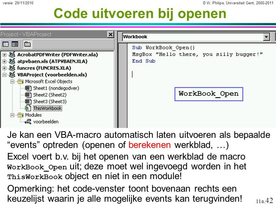 Code uitvoeren bij openen