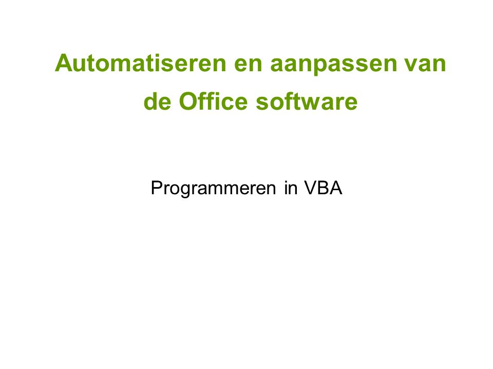 Programmeren in VBA