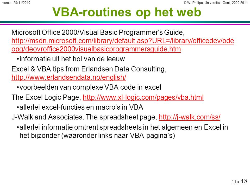 VBA-routines op het web