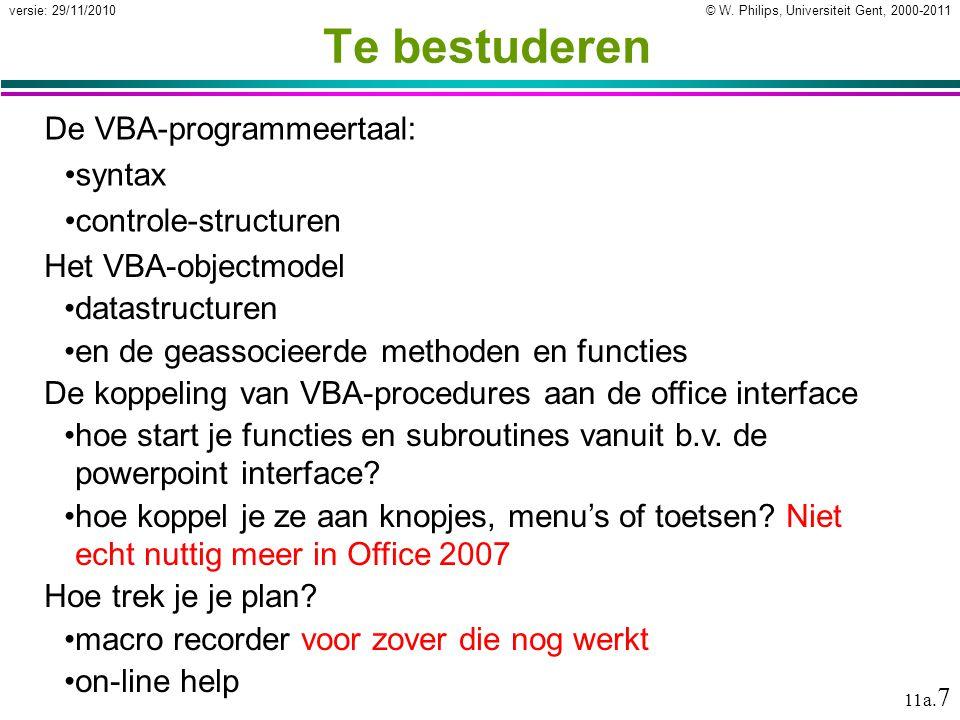 Te bestuderen De VBA-programmeertaal: syntax controle-structuren