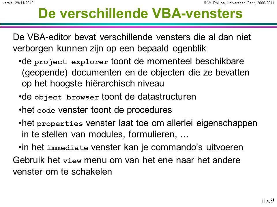 De verschillende VBA-vensters