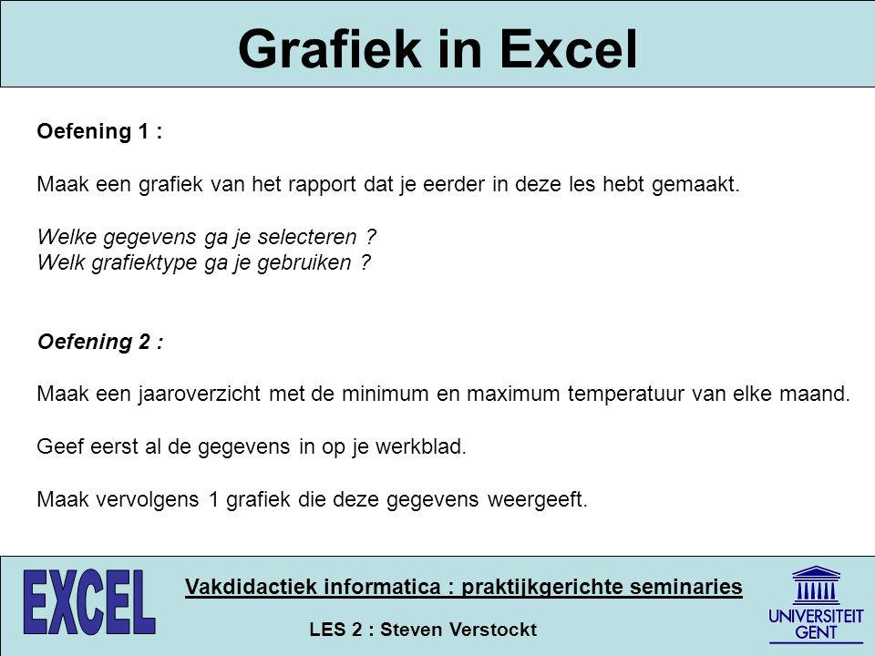Grafiek in Excel Oefening 1 :
