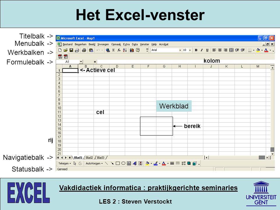 Het Excel-venster Titelbalk -> Menubalk -> Werkbalken ->