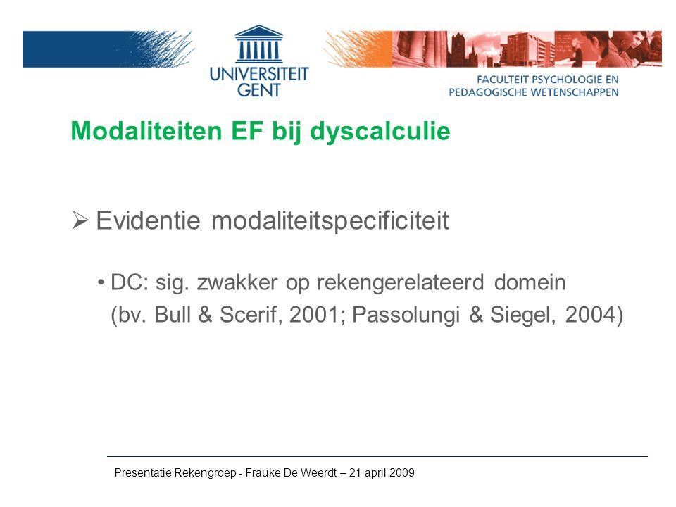 Modaliteiten EF bij dyscalculie