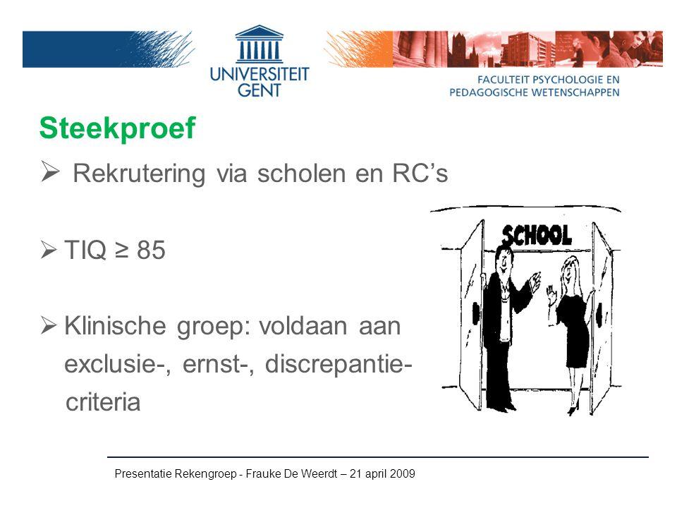 Rekrutering via scholen en RC's