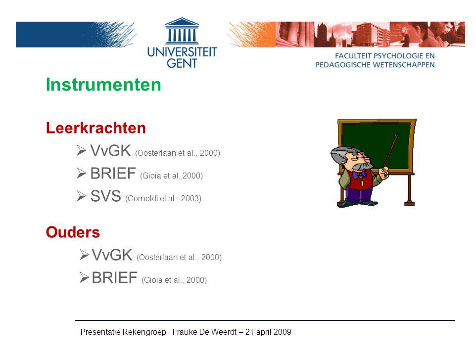 Instrumenten Leerkrachten VvGK (Oosterlaan et al., 2000)