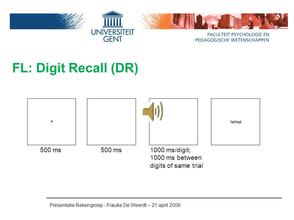 FL: Digit Recall (DR) 500 ms 500 ms 1000 ms/digit;