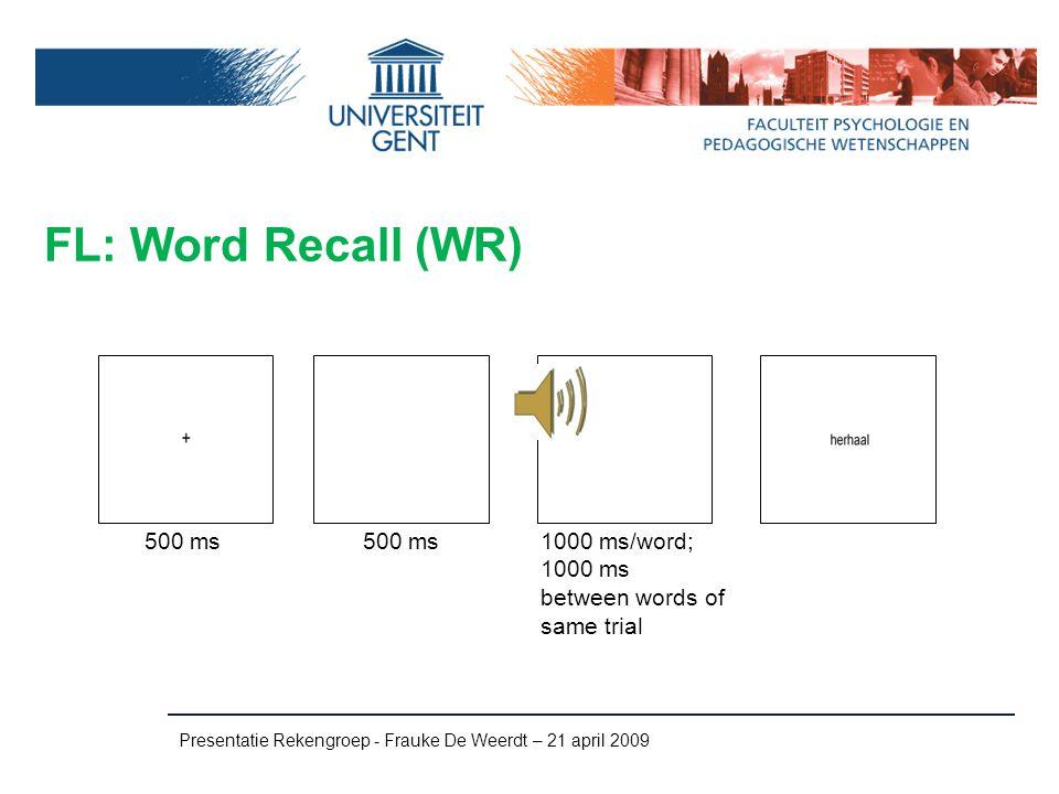 FL: Word Recall (WR) 500 ms 500 ms 1000 ms/word;