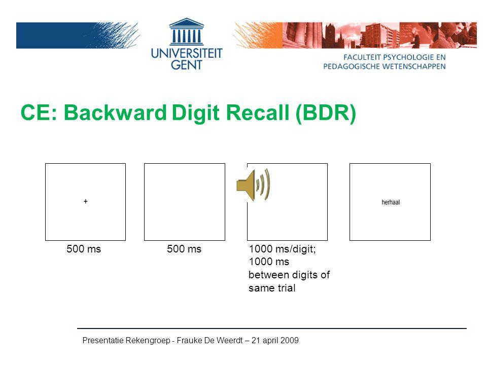 CE: Backward Digit Recall (BDR)