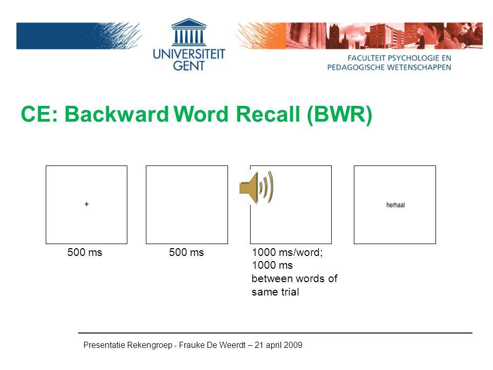 CE: Backward Word Recall (BWR)