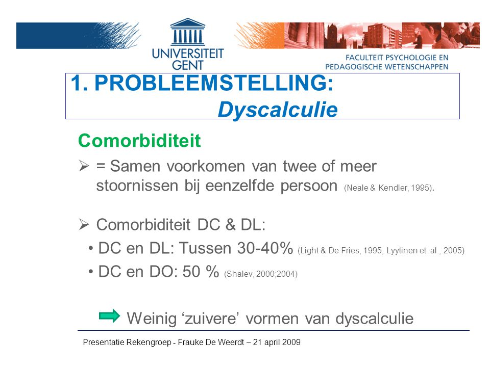 1. PROBLEEMSTELLING: Dyscalculie