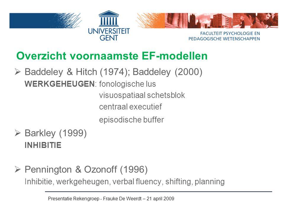 Overzicht voornaamste EF-modellen