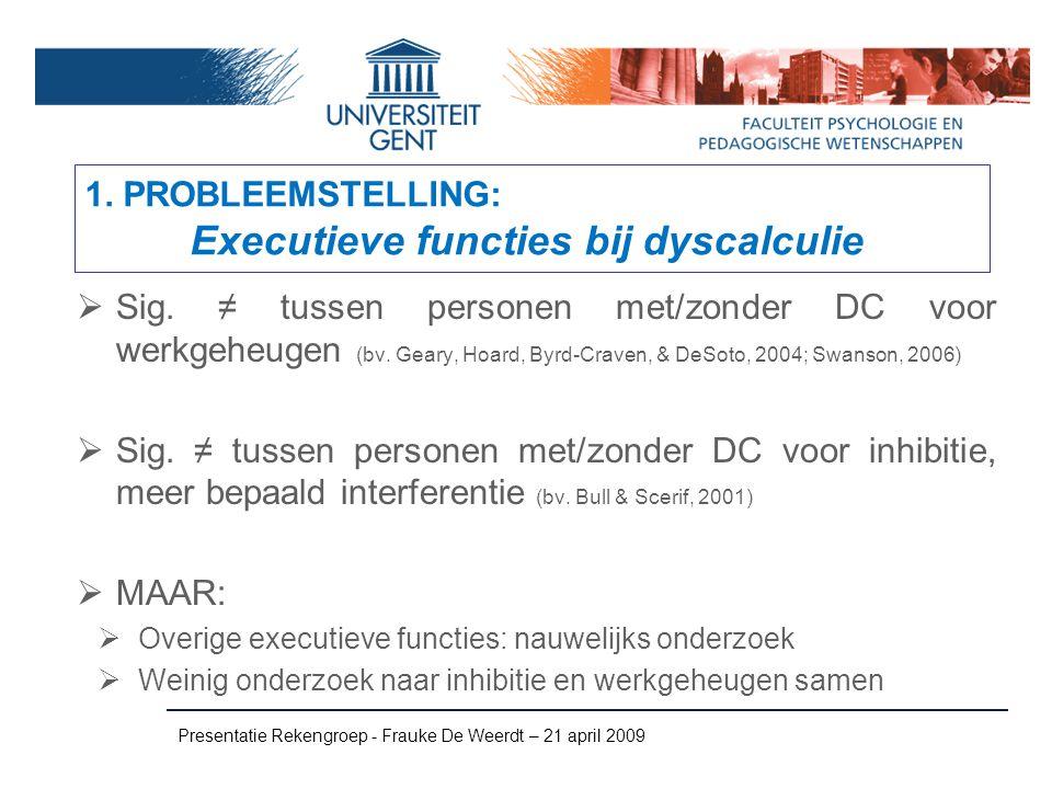 1. PROBLEEMSTELLING: Executieve functies bij dyscalculie