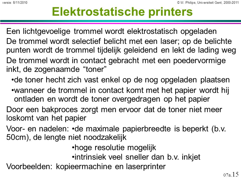 Elektrostatische printers