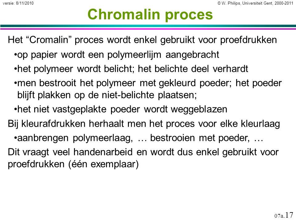 Chromalin proces Het Cromalin proces wordt enkel gebruikt voor proefdrukken. op papier wordt een polymeerlijm aangebracht.