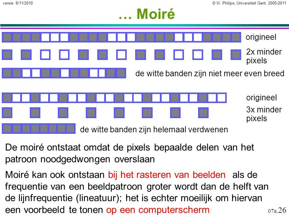 … Moiré origineel. 2x minder pixels. de witte banden zijn niet meer even breed. origineel. 3x minder pixels.